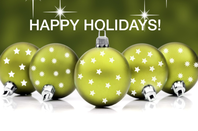 happy holidays - Green baubles